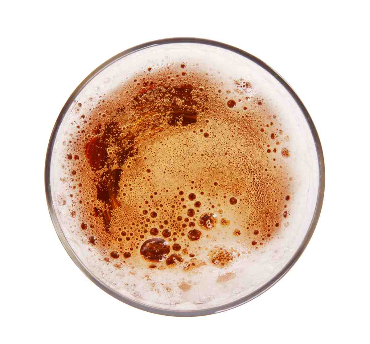 Glass of beer, top view,Isolated on white background
